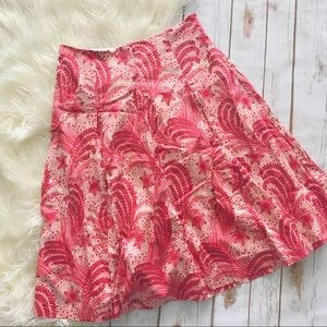 Talbots red and cream a-line skirt
